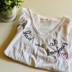 """Anthropologie {Sundry} """"You had me at Bonjour"""" Tee"""